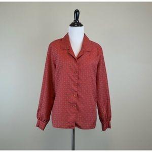 Vintage 70s Red Floral Print Button Up Blouse M